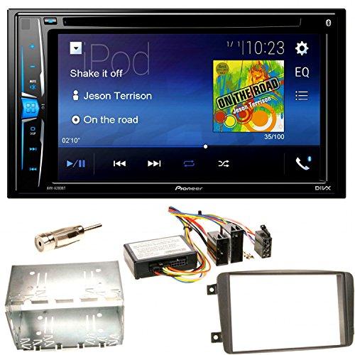 Pioneer AVH-A200BT Bluetooth USB MP3 Autoradio iPhone iPod Doppel Din CD DVD Touchscreen UKW DivX Einbauset für Mercedes C-Klasse W203 CLK W208 W209