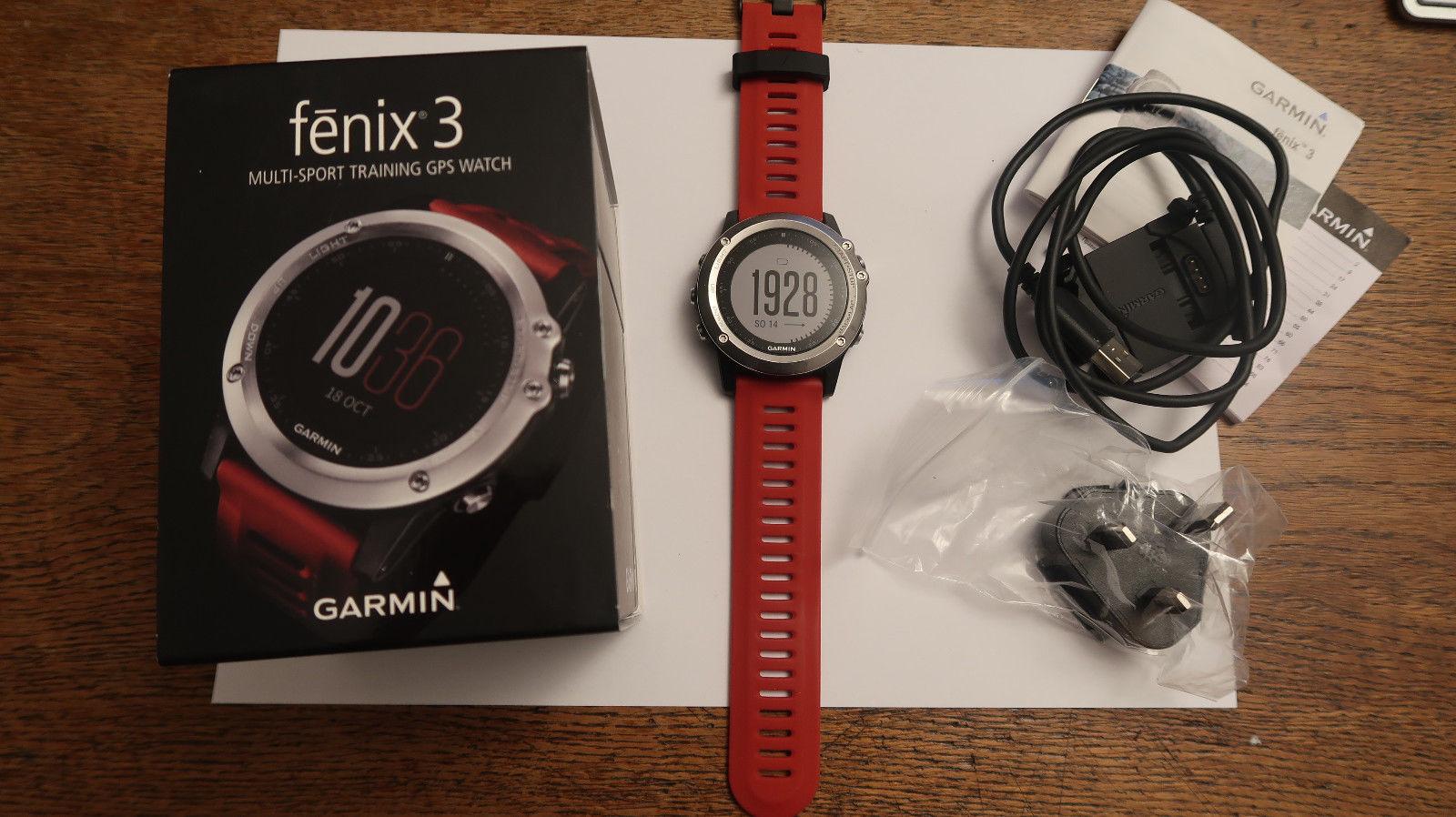 GARMIN FENIX 3 Multi-Sport Traning GPS Watch Uhr NAVIGATION rot, TOP
