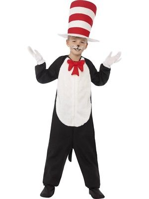 Cat In The Hat Costume Boys Girls Smiffys Fancy Dress World Book Day Week Outfit