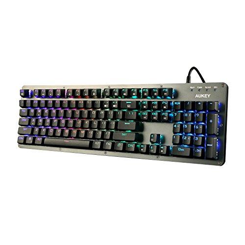 AUKEY Mechanische Tastatur 104 Tasten US-Layout Brown Switch RGB Beleuchtet Gaming Tastatur Macro Programmierbar Anti-Ghosting für Spieler, Typisten, Büro ( Space Grau )