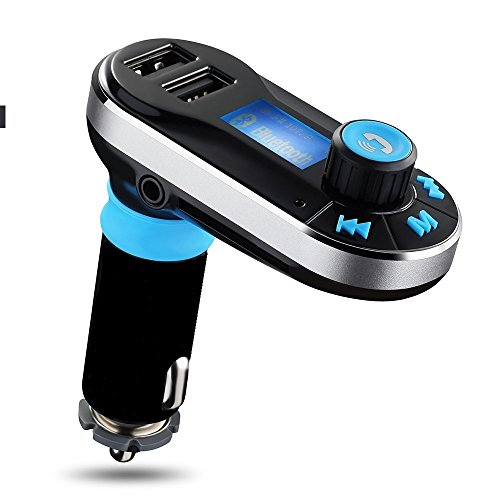 CYBERNOVA CYBERNOVA Bluetooth Car Kit FM Transmitter mit Mikrofon Freisprechen, Dual USB Ladegerät 5V / 2.1A Ausgang, Micro SD / TF Kartenleser Slot AUX IN für alle Bluetooth Handy