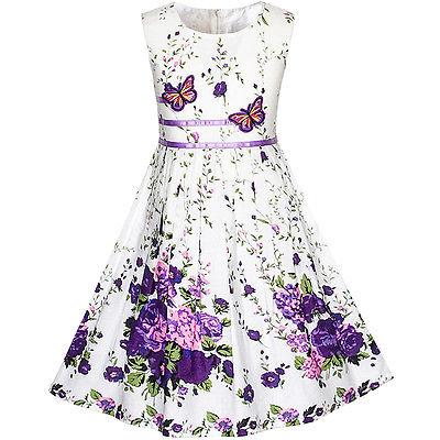 Mädchen Kleid Lila Schmetterling Blume Trägerkleid Party Gr. 98-146