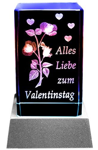 Kaltner Präsente Stimmungslicht – Ein ganz besonderes Geschenk: LED Kerze / Kristall Glasblock / 3D-Laser-Gravur Valentin Motiv Rose ALLES LIEBE ZUM VALENTINSTAG
