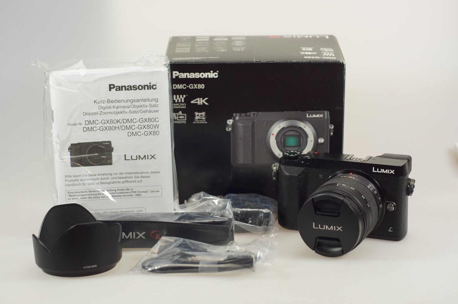 Panasonic LUMIX GX80 Kit inkl. 14-45mm Objektiv, schwarz DMC-GX80 , Top Zustand