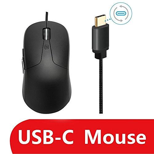 USB-C Maus, Sunwe Kabelgebundene Maus & C USB-Maus für MacBook Pro 2016, 4DPI Stufen verstellbar, kompatibel mit allen USB C Port Tablet und Handys - schwarz