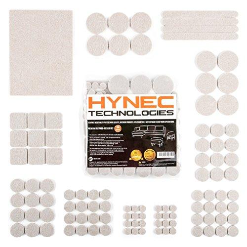 Hynec Premium Möbelschoner / Filzunterlage Mittleres Set mit 7 verschiedenen selbstklebenden Stickern aus Filz für Möbel Filzgleiter (106 Teilig) Set