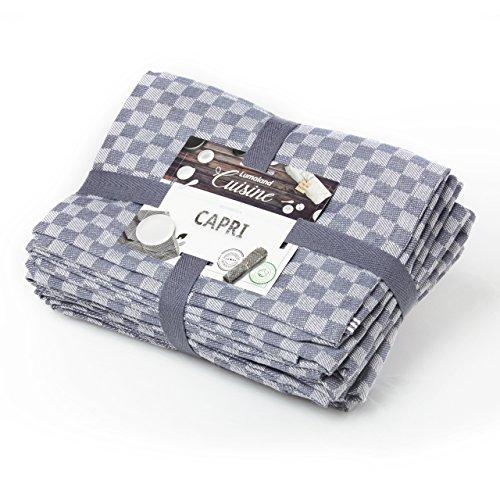 Lumaland Geschirrtücher Capri Serie in zehn Farben 10 Stück pro Set 100 % Baumwolle 46 x 70 cm Grau - Weiß