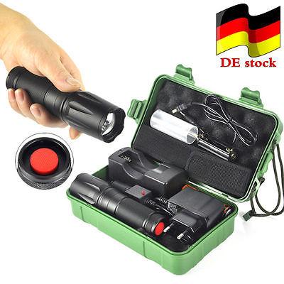 12000LM Zoombar Polizei Taschenlampe XM-L L2  LED Militär Fackel+18650+ladegerät