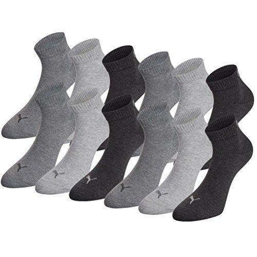 PUMA Unisex Quarter Quarters Socken 12er Pack, Größe:43-46;Farbe:anthracite/light grey mel/middle grey mel