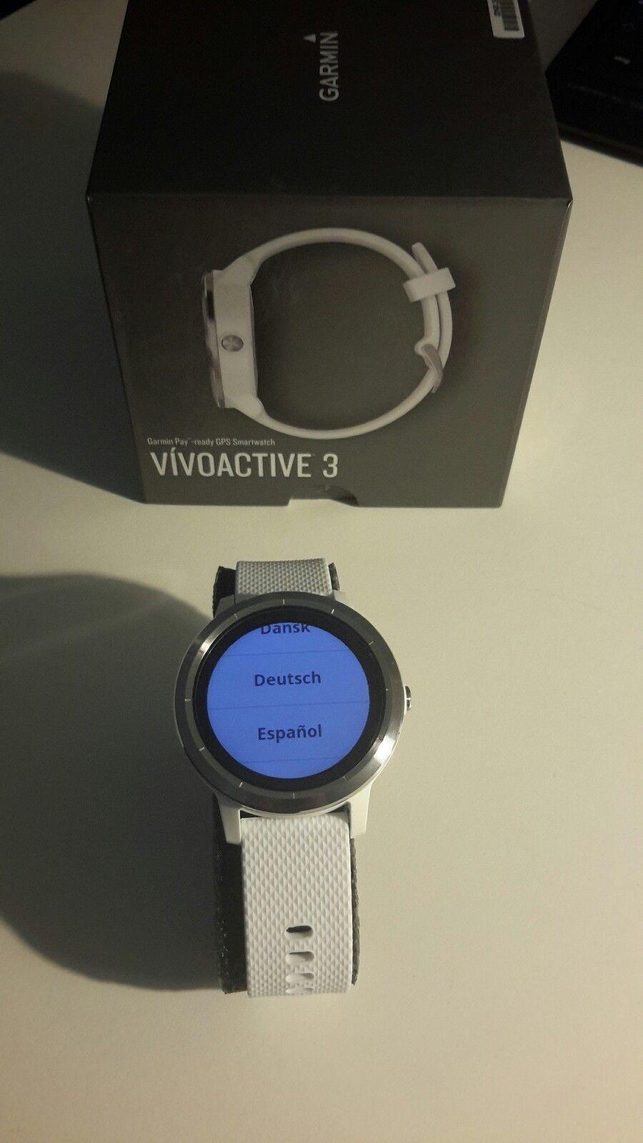 GARMIN Vivoactive 3, GPS Fitnessuhr, Weiß/Silber - Neu!