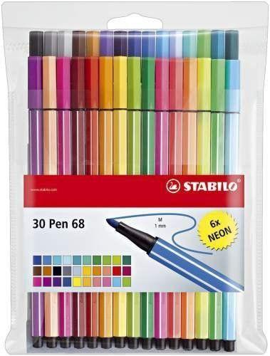 30x Stabilo Pen 68 Fasermaler Filzstifte inkl. 6 NEON Farben 6830-1