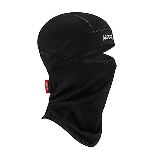 Aegend Balaclava Polyester Fleece Ski-Gesichtsmaske für Damen Herren Jugend Tactical Hood für Motorrad Snowboard Radfahren Outdoor im Winter Nacken-Wärmer oder leichte winddichte Hut-Schwarz, 1 Stück