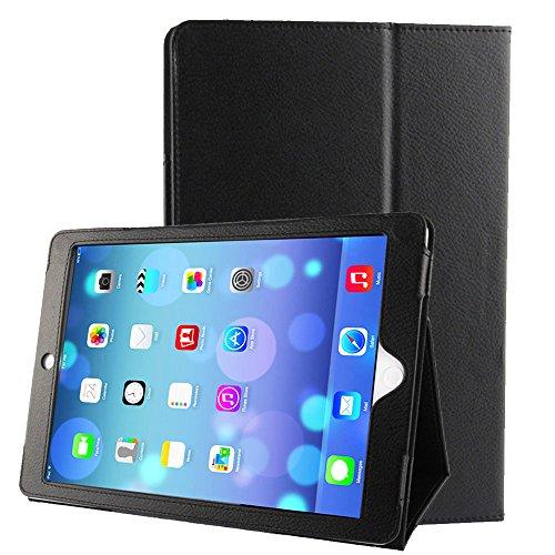 subtel® Smart Case für iPad Air 1 (A1474 / A1475) / iPad 5 (A1822/ A1823) (Wake / Sleep) Kunstleder Schutzhülle Tasche Flip Cover Case Etui schwarz