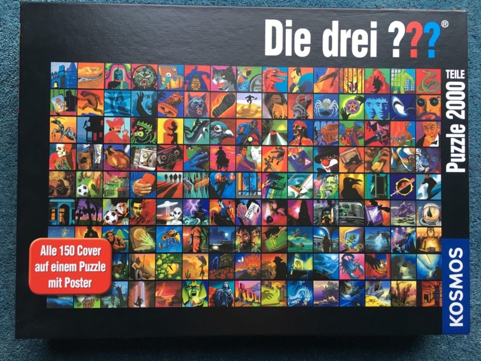 Puzzle 2000 Teile ? DIE DREI FRAGEZEICHEN Cover-Collage ? KOSMOS