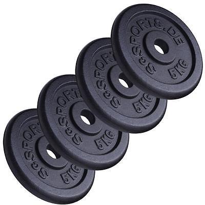 Hantelscheibenset 20 kg Gusseisen 30 mm 4x5 kg 2. Wahl Scheiben Gewichte