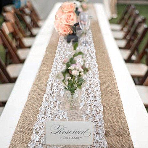 Vintage Sackleinen Tischläufer 30x 275cm rustikal shabby aus Jute Spitze Tischläufer für Hochzeit Festival Party Event Dekorationen