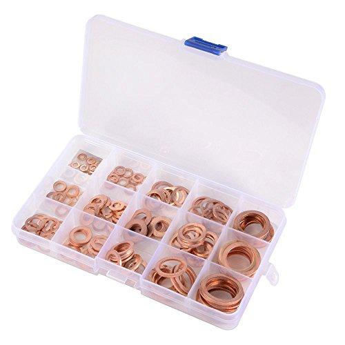 Kupferringe Sortiment Dichtringe Kupferring, Kupfer Dichtungssatz , Kupfer Unterlegscheiben Dichtung, Hardware Zubehör solide Kupfer 150er