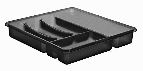Rotho 1753108812 Besteckkasten Basic 6 Fächer, Schubladeneinsatz für Besteck aus Kunststoff (PP) Anthrazit, Besteckeinsatz für Schubladen ab 40 cm Breite, circa