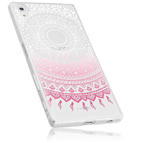mumbi Schutzhülle Sony Xperia Z5 Hülle im Mandala Design transparent rosa
