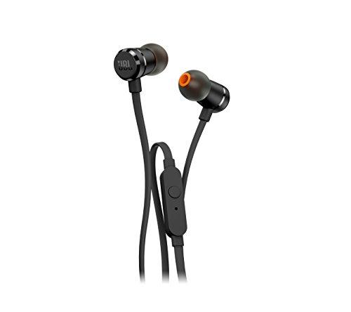 JBL T290 In-Ear Kopfhörer Ohrhörer Hochwertige Aluminium-Ausführung mit 1-Tasten-Fernbedienung und Mikrofon Kompatibel mit Apple und Android Geräten - Schwarz