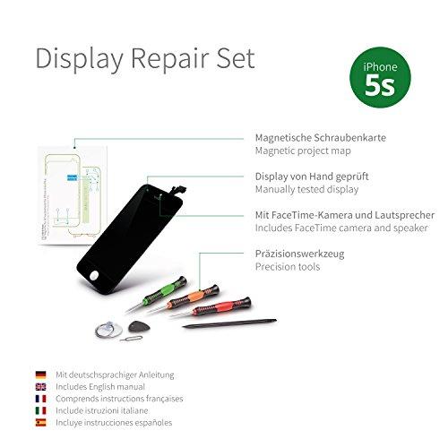 GIGA Fixxoo iPhone 5s Komplettes Display Ersatz Set Schwarz, LCD mit TouchScreen, Retina Display, Kamera & Näherungssensor - Einfache Installation für Do-It-Yourself
