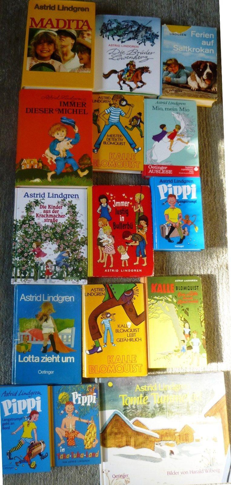 Astrid Lindgren, 15 Bücher /  18 Romane, div, Verlage, Hardcover