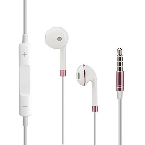 iOS und Android In-Ear Kopfhörer Earpods aktuelle Version mit Lautstärkeregelung in Rosé und toller schwarzer Nylon Schutztasche von VAPIAO