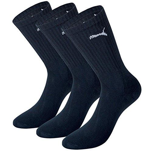 PUMA Unisex Crew Socks Socken Sportsocken MIT FROTTEESOHLE 6er Pack (Black, 35-38)