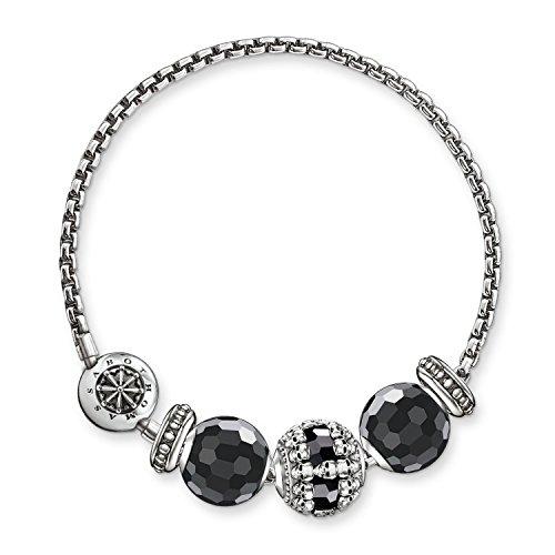 Thomas Sabo Damen-Armband Karma Beads mit Bead 925 Sterling Silber Länge 18 cm SET0359-494-11-L18