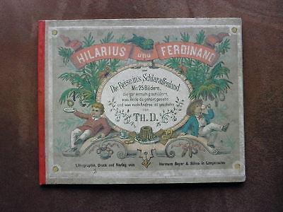 1850 Biedermeier Kinder Bilderbuch Die Reise ins Schlaraffenland Lithographien