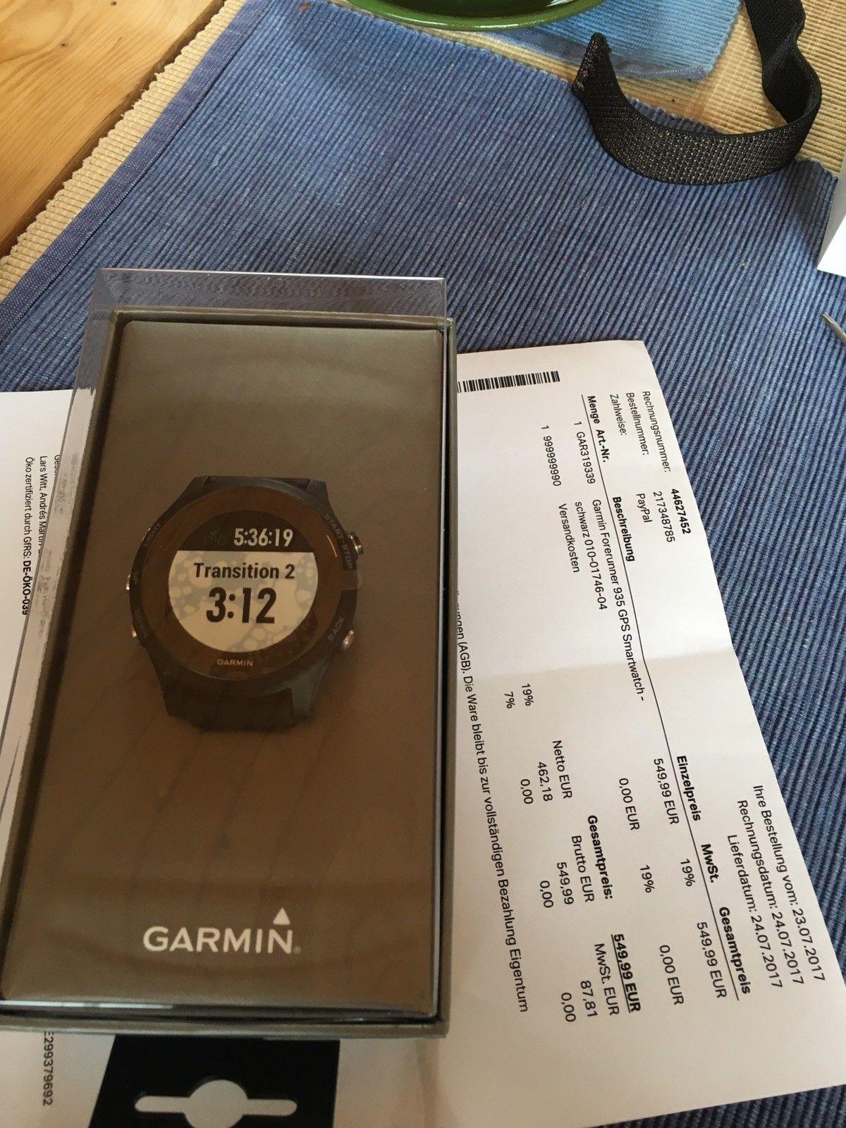 Garmin Forerunner 935 Laufuhr Uhr GPS HRM Handgelenkmit OVP u. Rechnung