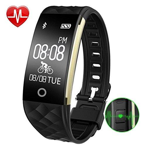 AsiaLONG Fitness Armband mit Herzfrequenz - Wasserdicht Fitness Tracker Aktivitätstracker Pulsuhren Bluetooth Smart Uhr Schrittzähler Armband mit Pulsmesser Schlaftracker Kalorienzähler Vibrationsalarm Anruf SMS Whatsapp für iPhone iOS Handy