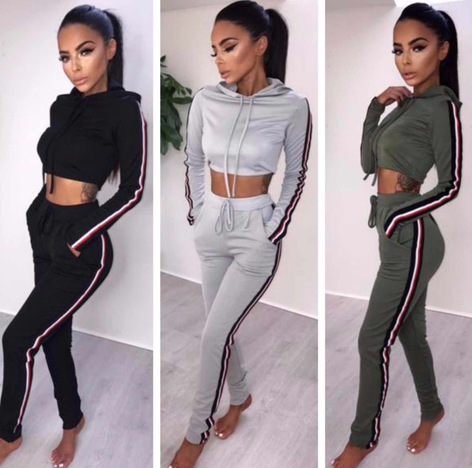 Womens Ladies Stripe Cropped Hoody Joggers Two Piece Loungewear Tracksuit Uk8-14