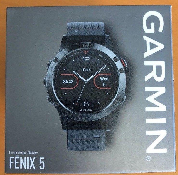 Garmin Fenix 5 Schwarz Fitnessarmband Sportuhr Outdooruhr Schrittzähler GPS