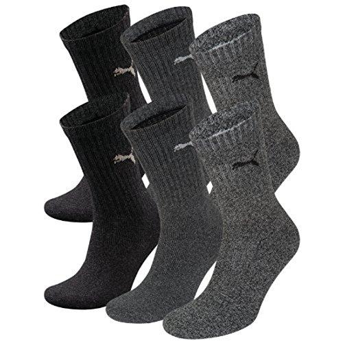 PUMA Unisex Crew Socks Socken Sportsocken MIT FROTTEESOHLE 6er Pack (anthracite / grey, 35-38)