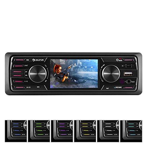auna MD-350BT • Autoradio • Car-Radio • MP3-Radio • Deckless • LCD-Display • Bluetooth • MP3-fähiger USB-Port • Mini-SD Karten Slot • UKW-PLL-Tuner • AUX-Eingang • 7 Beleuchtungsfarben • schwarz
