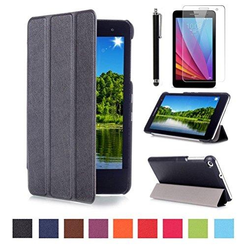 Huawei MediaPad T1 7'' Cover Case,Slim-Fit PU Leder Tasche Smart Cover Case für Huawei Mediapad T1 7.0 Zoll Tablet Hülle Schutzhülle Schale Etui Ledertasche mit Standfunktion + Displayschutzfolien und Stylus,Schwarz