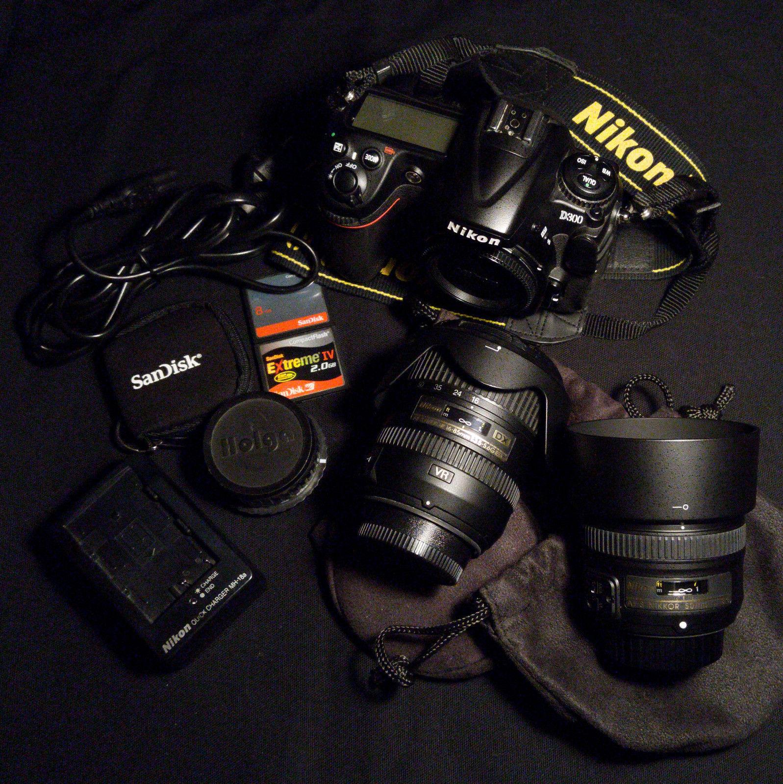 Nikon D300 – Digitale Spiegelreflexkamera, drei Objektive, Zubehörpaket.