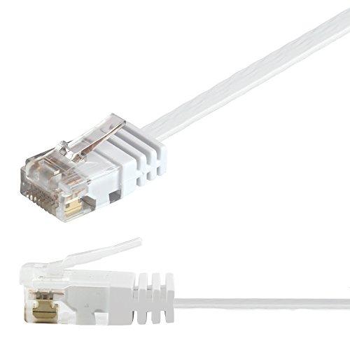 Ligawo 1014118.0 Patchkabel Netzwerkkabel Cat6 Flexibel Slim Design Flachkabel (15m) weiß