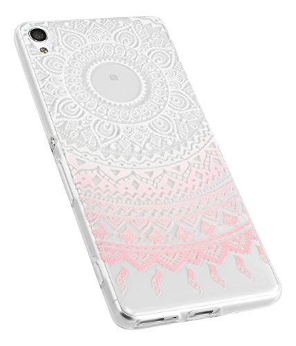 mumbi UltraSlim Hülle für Sony Xperia XA Schutzhülle im Mandala Design transparent rosa (Ultra Slim - 0.55 mm)