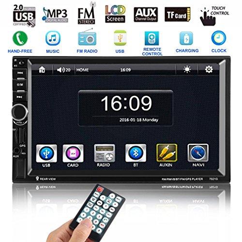 Autoradio MP5 Spieler, CATUO 7 Zoll Navigationssystem DVD Player mit GPS Navigation Unterstützung GPS/Mic/BLUETOOTH/USB/TF/AUX/ +Free 8GB Map Karte+ Ausgabe 60 Watt * 4 Kanäle