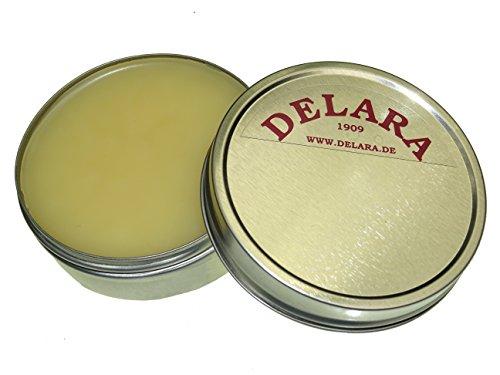 DELARA Lederbalsam mit hochwertigem Bienenwachs, Lederpflege, die das Leder weich, geschmeidig und atmungsaktiv macht. Farblos, 75 ml