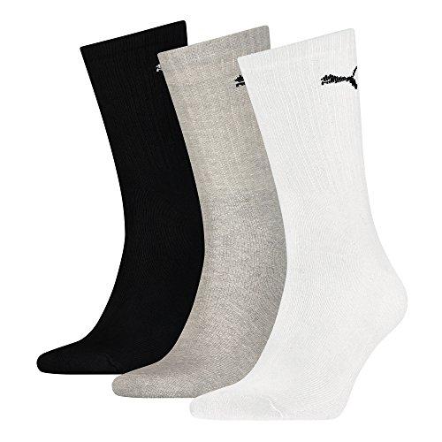 6 Paar Puma Crew Socks, Socken, Sportsocken mit Rippstruktur für Damen und Herren (White/Grey/Black, 39-42 - 6 Paar)