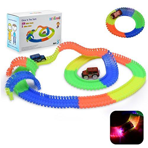 Nion Glow Twister Tracks mit 2 Blinken Autos - HEYSAMO Magic Rennbahnset inklusive 220 Stück (11 feet) Tracks Spielzeug für Kinder 3 Jahre und Bis
