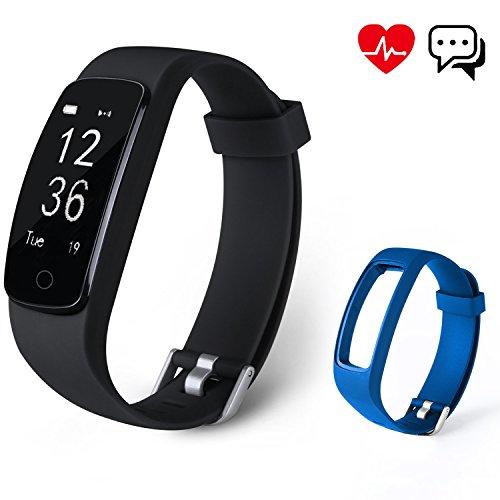 Fitness Tracker Aneken Aktivitätstracker mit 14 Multi-Sport-Modi Schrittzähler Herzfrequenz Pulsmesser Kalorienzähler und Schlaf-Monitor Anrufen/SMS Nachrichten Ersatz Band für Android/iOS Schwarz und blau