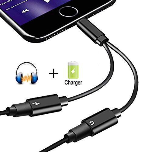 2 in 1 Lightning Adapter geeignet für iPhone X/8/ 8 Plus/7/7Plus/ipod/ipad ,Dual Lightning Audio Adapter und Ladeadapter ermöglicht Audiowiedergabe und Laden zur selben Zeit. Adapter Splitter Unterstützung Music Control&Aufladen &Anrufen.(Kompatibel mit 1