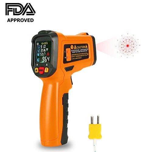Infrarot Thermometer Laser Digital Thermometer IR Pyrometer kontaktfreies -58°F bis 1472°F (-50 °C~ 800 °C) mit K-Typ Thermoelement Farbe lcd 12-Punkte-Laserkreis Farbbildschirm für Küche Automotive und Industrial