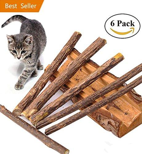 Katzenminze Sticks, Katzenspielzeug, 6 Stück Matatabi Katze Kaustäbchen Sticks Zahnpflege, 100% Natur Unterstützen die Natürliche Zahnpflege und Hilft Bei Mundgeruch Sowie Katze Zahnstein