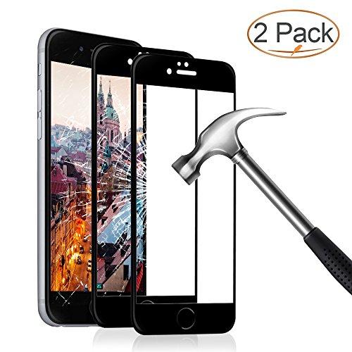 Panzerglas Schutzfolie für iPhone 6 6s , 2 Stück Ultra-klar 3D Vollständige Abdeckung 9H Härtegrad 4,7 Zoll 3D Panzerglasfolie Displayschutzfolie für iPhone 6 6s (Schwarz)
