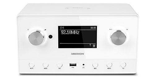 MEDION P85066 MD 87566 Wifi Stereo Internet-Radio, DAB+/UKW-Empfänger, Empfang von über 15.000 Internetradiosendern, USB-Anschluss, drahtlose Anbindung durch WLAN-Technologie, weiß